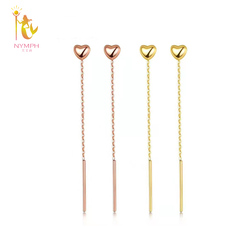 NYMPH Authentic 18K Yellow Gold Drop Earrings For Women Wedding Classic Gift Solid AU750 Tassel Chain Fine Jewelry 2020 E369