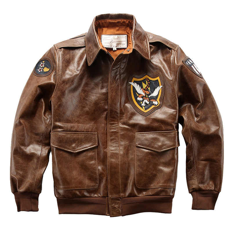 A-119 Read Description! Asian size air force flight A2 pilot cow leather jacket genuine cowhide flying tiger leather jacket