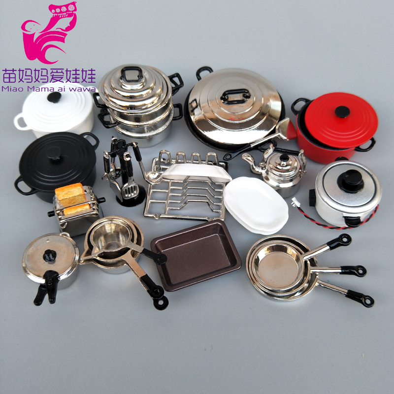 Mini Doll Kitchenware Mini Wok Pans Pots Doll Furniture For Barbie Licca Blythe Doll 1/8 1/12 Scale Doll House Accessories