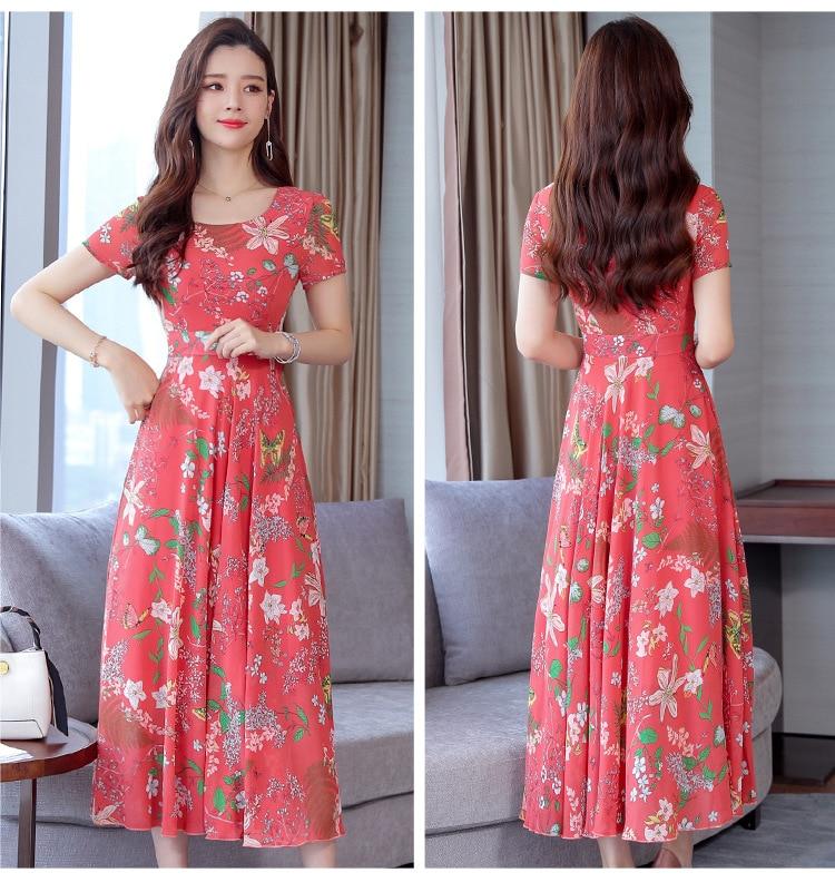 2021 new summer Korean chiffon dress women's Casual Short Sleeve temperament large yellow red flower round neck dress