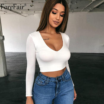 Forefair V Neck Women White Crop Top Black Red Long Sleeve Solid Streetwear Sexy Kint Autumn Winter Casual Party T Shirt