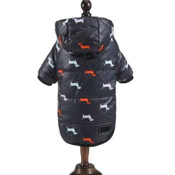 Autumn Winter Clothes For Dogs Dachshund Printed Cotton Down Jacket With Leash Ring Thicken Hoodie For Small Medium Dogs Puppy 4