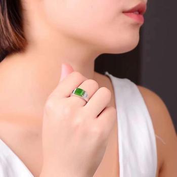 Man Ring Real and Natural Original Man Jade Ring Stone Rings Solid 925 Silver Gemstone Ring