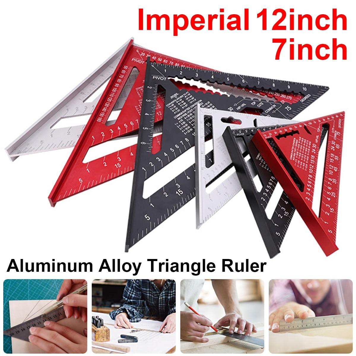 12 polegada imperial liga de alumínio triângulo ângulo régua transferidor carpintaria ferramenta medição praça layout calibres|Medidores|   -