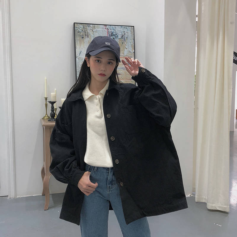 Korean Streetwear Harajuku Black Denim Jacket Oversized Pockets Women Jeans Jackets Loose BF Vintage Casual Coats Autumn Hoodie