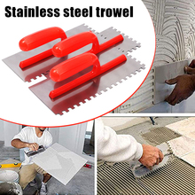 Stainless Cement Flaten Trowel with Notch Tiling Notched Trowel Square Notch with Handle for Wall Floor Tile Grout --M25