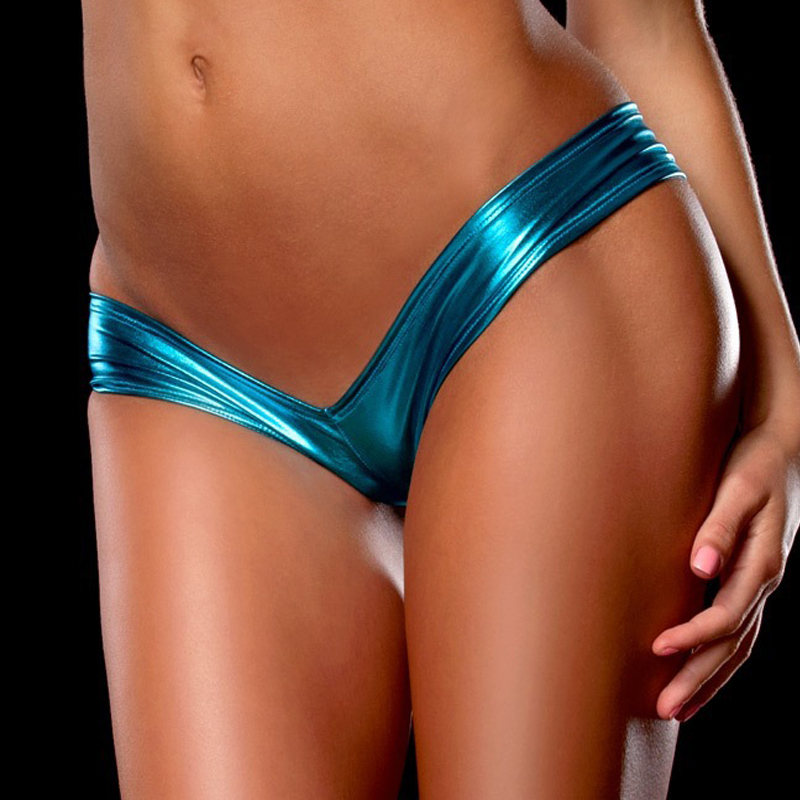 H331b7636a4d84b70af015c2632d10c58n Women Sexy Panties Underwear Woman Solid Flashing Opaque Patent Leather Imitation Leather Pants Shining Stringi Underwear