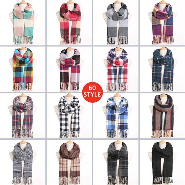 Plaid Winter Warm Foulard Solid Fashion Casual Cashmere Scarfs 1