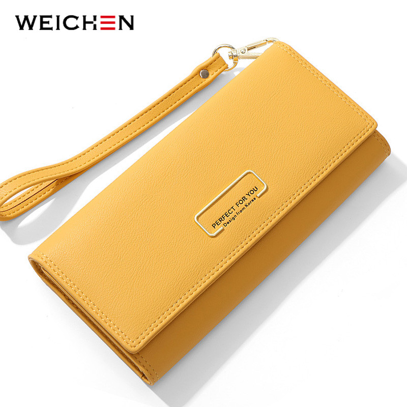 WEICHEN Wristband Wallet Many Departments Wallets Women Clutch Ladies Purse Phone Pocket Card Holder Female Long Carteras