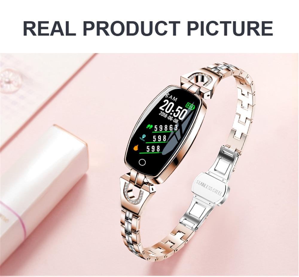 H331b78df6b13438f91fc1c383c50e679N Greentiger H8 Smart Bracelet Women Activity Fitness Tracker Heart Rate Monitor Blood Pressure IP67 Waterproof Smart Wristband