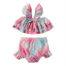 Летний милый купальник для маленьких девочек; Комплект с подтяжками;