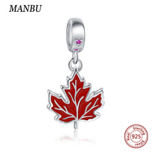 MANBU New fashion beads for jewelry making charm bracelet Red maple leaf 925 sterling silver women gift
