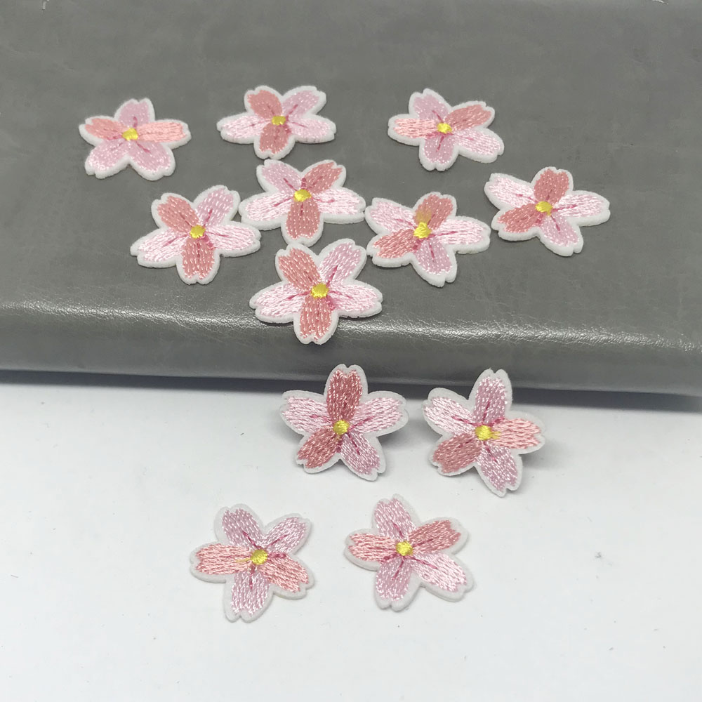 10PCS Small Pink Cherry Flower <font><b>Patches</b></font> Clothing Embroidery <font><b>Iron</b></font> <font><b>On</b></font> Applique Floral for <font><b>Kids</b></font> Dress Clothes Cheap Patchs for DIY image