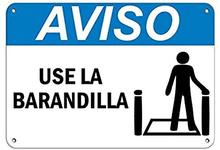 Sinal de aviso aviso uso la barandilla sinal de perigo corrimão sinais sinal de estrada sinal de negócios metal alumínio estanho z0236