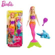 Original Barbie Mermaid Doll Dolphin Water Discolored Girl Gift Set Sea Fairytale Beautiful Princess Dolls Christmas Kids Toys цена