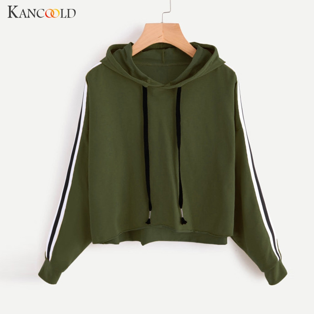 KANCOOLD sweatshirts Striped Printed Pullovers Tops Women Sportswear hooded long sleeve Female Korean Style Blouse Sudaderas 09