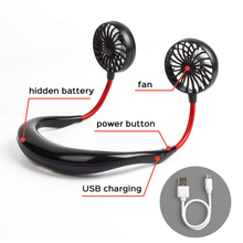 360 Degree USB Fan Rechargeable Neck band Fan For Outdoor Office Sport Hand Free Mini Neck Double Fans 3 Speed Adjustable usb rechargeable wearable portable hand free neckband fan personal mini neck double fans 3 speed adjustable for home office