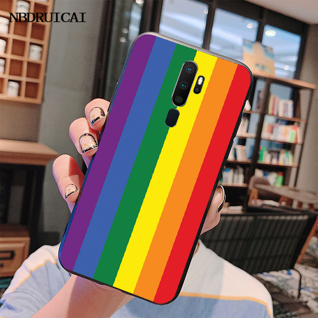 NBDRUICAI Gay lesbien LGBT arc-en-ciel fierté couverture noir coque souple coque de téléphone pour Oppo A5 A9 2020 A11x A71 A73S A1K A83 étui