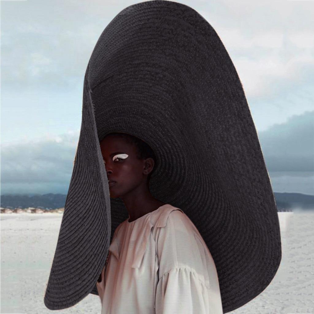 Fashion Large Wide Brim Sun Hat Beach Anti-UV Sun Protection Foldable Cap Cover Straw Hat Sunken Beach Sun Hat