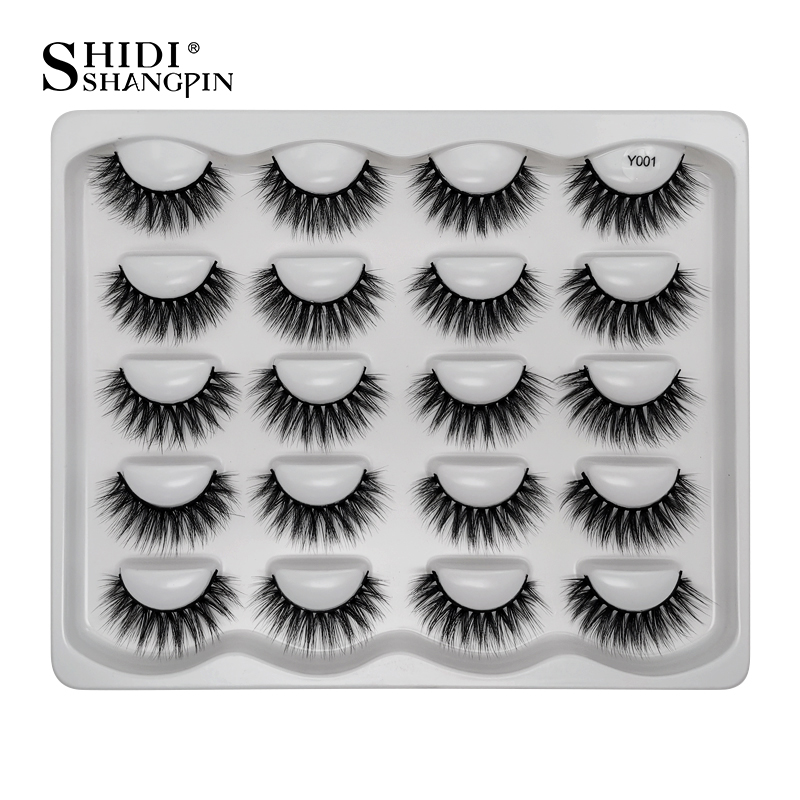 SHIDISHANGPIN 10pairs 1 Box Eyelashes Mink Eyelashes Natural 3d Mink Lashes False Eyelashes Makeup Bulk Lashes Maquiagem