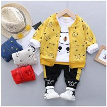 2019 Autumn Baby Boys Girls Clothing Sets Toddler Infant Clothes Suits Cartoon Coat T Shirt Pants Children Kids Costume Suit new 2016 autumn children wear suits baby girls boys clothes sets camouflage color cotton coat t shirt pants infant casual suits