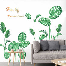Grüne Pflanze Wand Aufkleber DIY Pfingstrose Rose Blumen Strand Blätter Wand Aufkleber Moderne Kunst Vinyl Aufkleber Wandbild