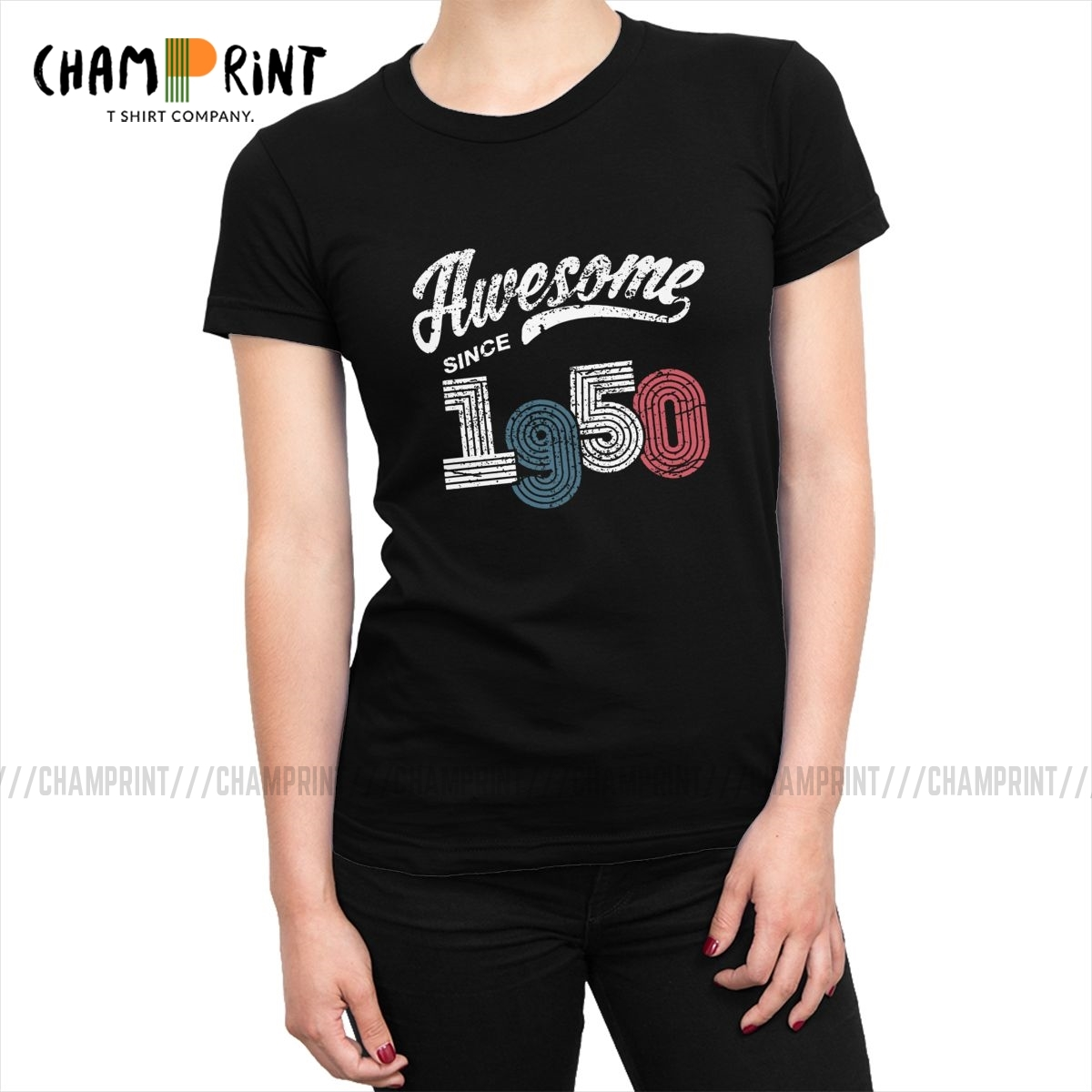 Awesome Since 1950 T-<font><b>shirts</b></font> Women Vintage Gifts for 70th <font><b>Birthday</b></font> Tshirt Ulzzang Tops Tees Original <font><b>70</b></font> Years Old Female Clothing image