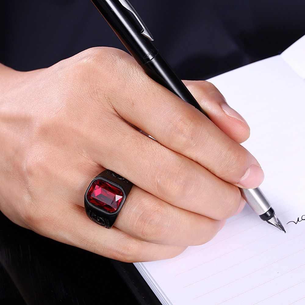 טיטניום נירוסטה גברים טבעות כיכר אדום אבן נישואים אירוסין Biker זכר טבעת חותם חותם פאנק רוק היפ הופ DCR022