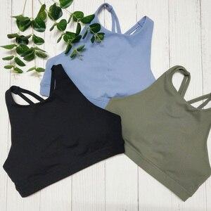 Sexy Sleeveless Yoga Bra for Woman Solid Workout Sports Top Tank Back Cross Women Sport Yoga Bras Green Fitness Sports Bra Tops