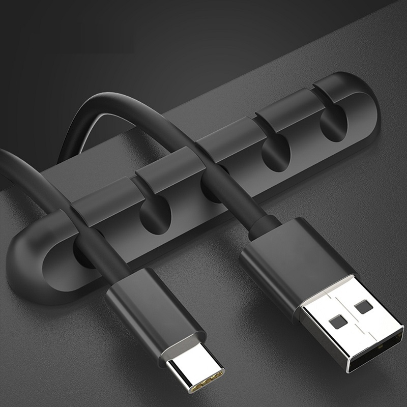 USB Cable Organizer Wire Winder <font><b>Earphone</b></font> <font><b>Holder</b></font> Cord Clip Office Desktop Phone Cables <font><b>Silicone</b></font> Tie Fixer Wire Management image