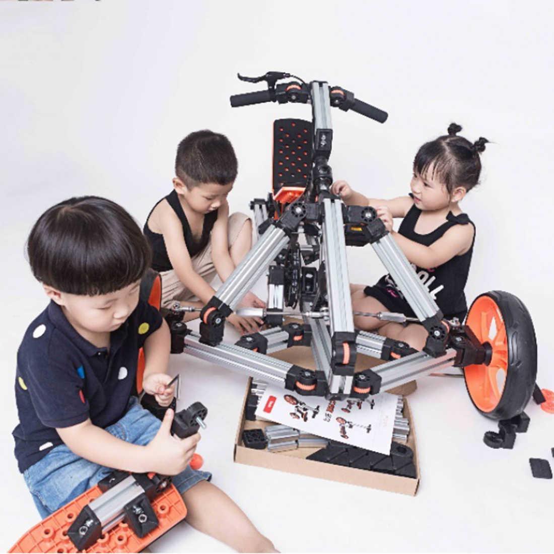 Docyke DIY Kreatif Construct Wahana 10-In-1 Sepeda Motor Go Kart Balance Scooter dengan Aluminium Multi- mode Bingkai untuk Anak