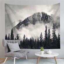 Paisagem natural paisagem cinza nebuloso floresta tapeçaria parede pendurado decoração do quarto tapeçaria de parede tecido psicodélico