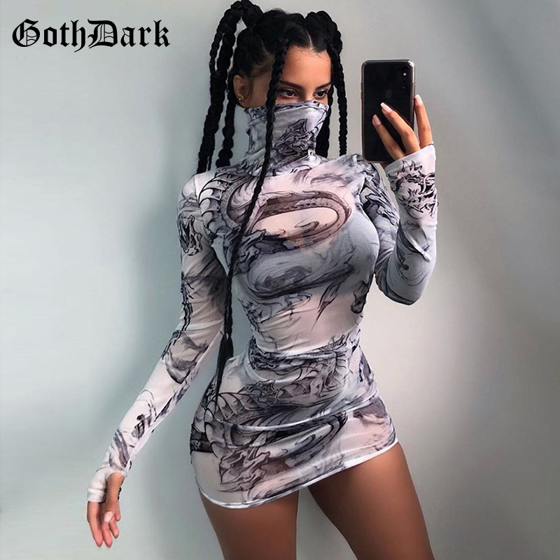 Goth Dark Dragon Print Gothic Punk Female Dresses Harajuku Longsleeve Autumn 2019 Grunge Mesh Women's Dress Aesthetic Fashion