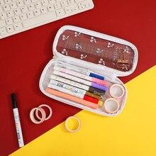 JIANWU 1Pc Transparent Hohe Kapazität Schöne Urlaub Gummies Serie Journal Bleistift Fall Kawaii Lagerung Tasche Schule Liefert
