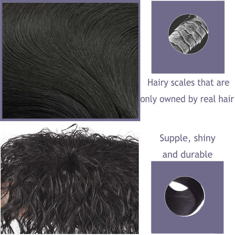 AILIADE Wanita Bernapas Rambut Bersih Dasar Rambut Manusia Asli Topper Wig Meningkatkan Jumlah Rambut Di Atas kepala Palsu