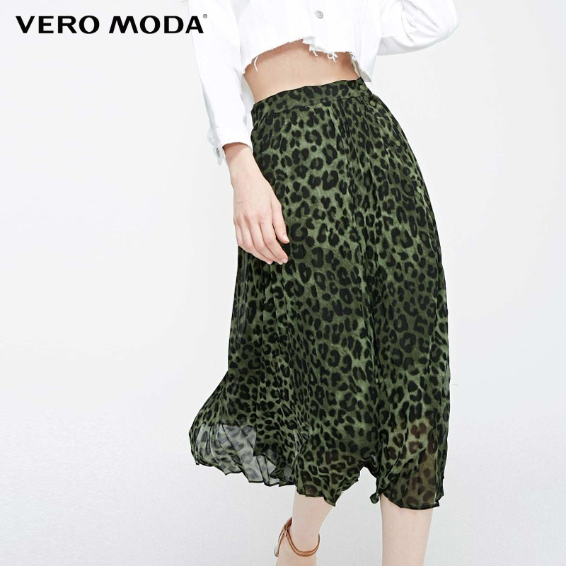 Vero Moda Spring & Summer Leopard Print Pleated Skirt|319216514