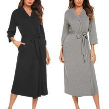 цена на Fashion Bath Robe Women Solid Color Kimono V Neck 3/4 Sleeve Waist Belt Bathrobe Sleepwear Cotton Bathrobe Couple Pajamas Dress