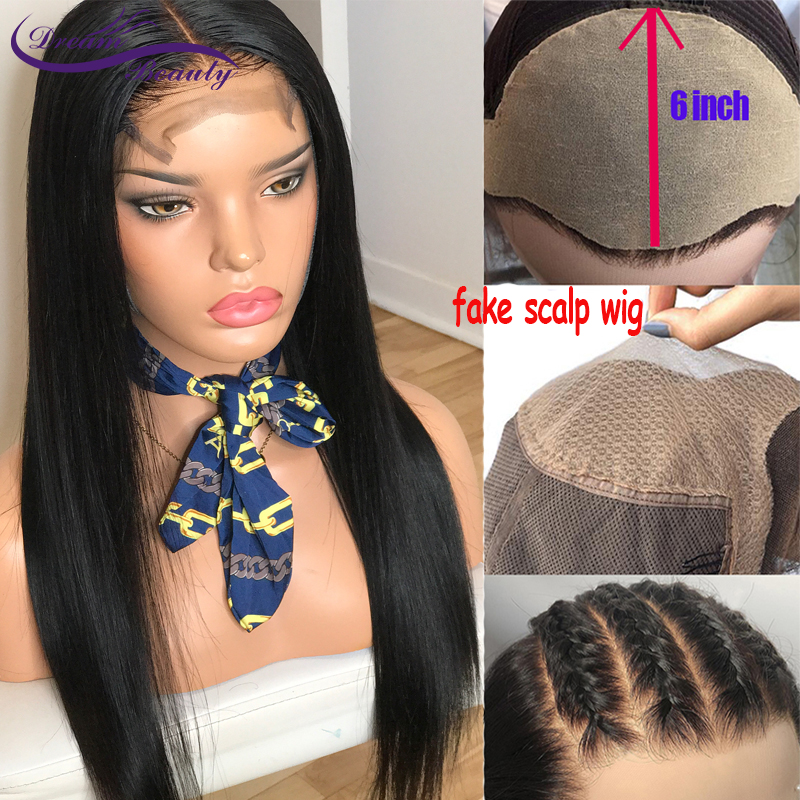Straight Fake Scalp Wig 13x6 Lace Front Human Hair Wigs 180% Brazilian Remy Human hair Wigs Pre Plucked Hairline Dream Beauty