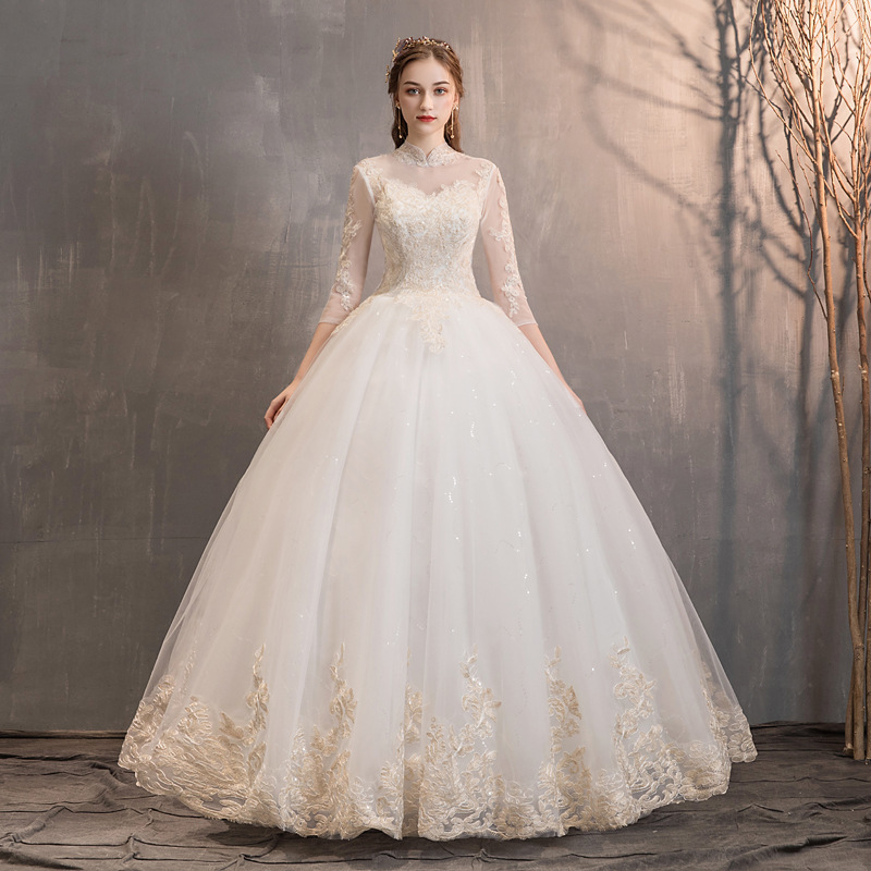 Illusion Wedding Dresses High Neck Ball Gown Lace Appliques 3/4 Sleeve Tulle Elegant Bride Wedding Gowns Vestidos De Novia 2020