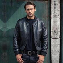 Free shipping.Super wholesales.mens slim genuine leather jacket.fashion quality