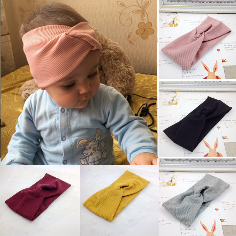Spring Summer Solid Color Baby Headband Girls Twisted Knotted Soft Elastic Baby Girl Headbands Hair Accessories Haarband(China)