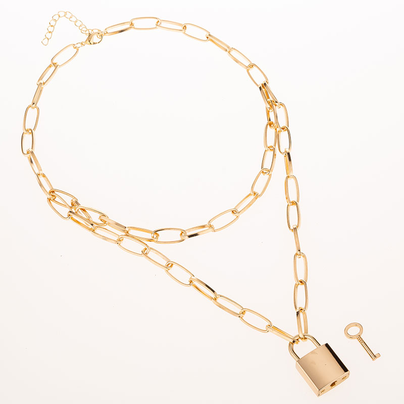 H331cf0fe63334e8f8d9af44e0b3dd6a6M - KMVEXO Multilayer Lock Chain Necklace Punk Padlock Key Pendant Necklace Women Girl Fashion Gothic Party Jewelry