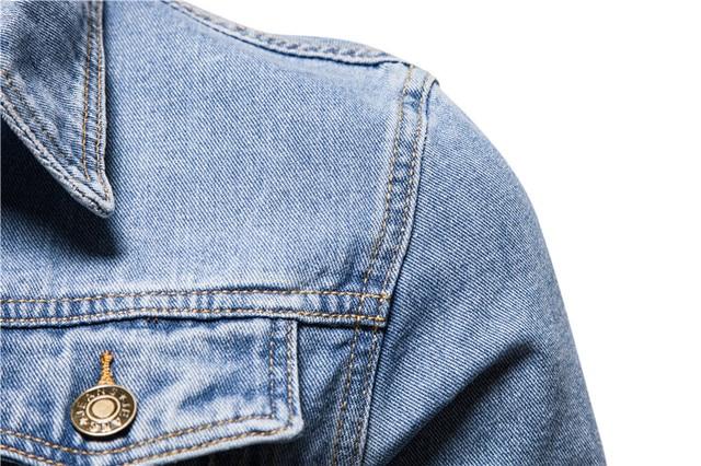 New 2020 Cotton Denim Jacket Men Casual Solid Color Lapel Single Breasted Jeans Jacket Men Autumn Slim Fit Quality Mens Jackets 4