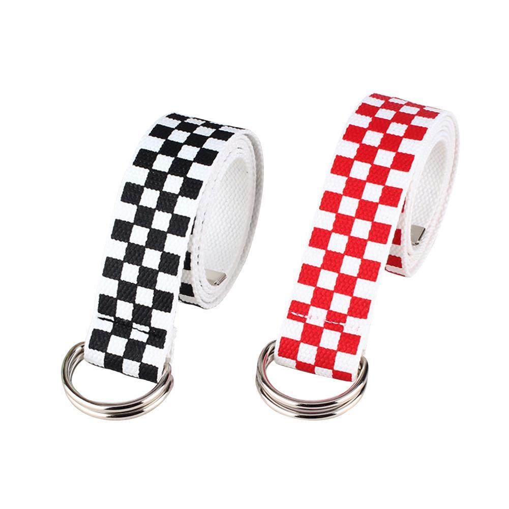 2019 Black White Plaid   Belt   Canvas Checkerboard   Belts   Cummerbunds Canvas Waist   Belts   Casual Checkered Waistband 130cm