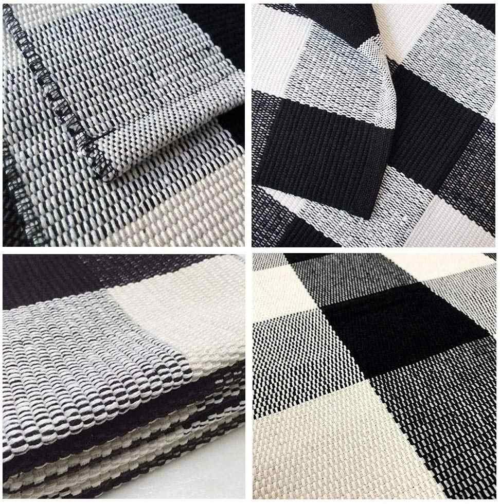 Yianshu preto & branco xadrez esteira 23.6x35.4 polegada lavável mão tecido tapete ao ar livre para sala de estar jantar quarto banheiro