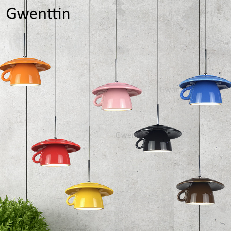 Nordic Ceramic Cup Pendant Lights Led Hanging Lamp For Dining Room Cafe Kitchen Light Fixtures Home Decor Industrial Luminaire