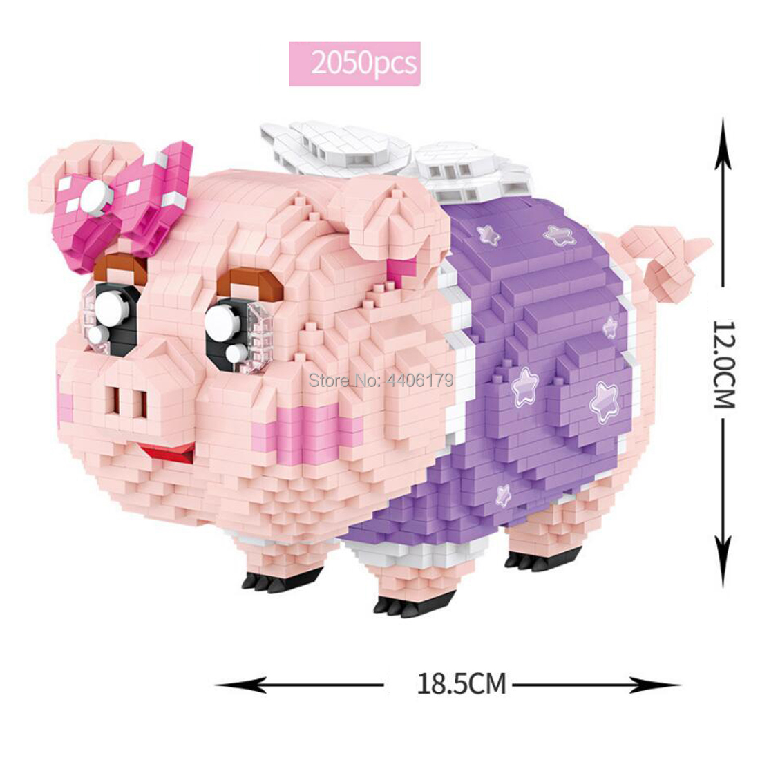 hot LegoINGlys creators Lovely animals cartoon piggy bank angel pig Pink mini micro diamond building block model brick toys gift