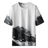 Camisetas con estampado de pico de montaña para hombre, camisas informales Harajuku de manga corta con cuello redondo, camisetas de verano, 2021