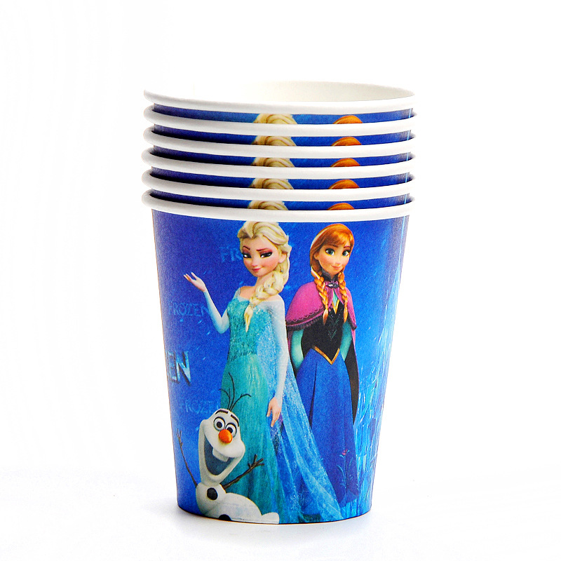 Disney Frozen Anna and Elsa Princess Design Disposable Tableware Paper Cup Plate Baby Shower Birthday Party Decorations Supplies-4