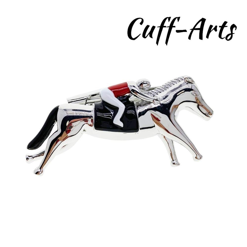 Horse Rider Animal Jockey Tie Clip Silver Black Wedding Bar Clasp
